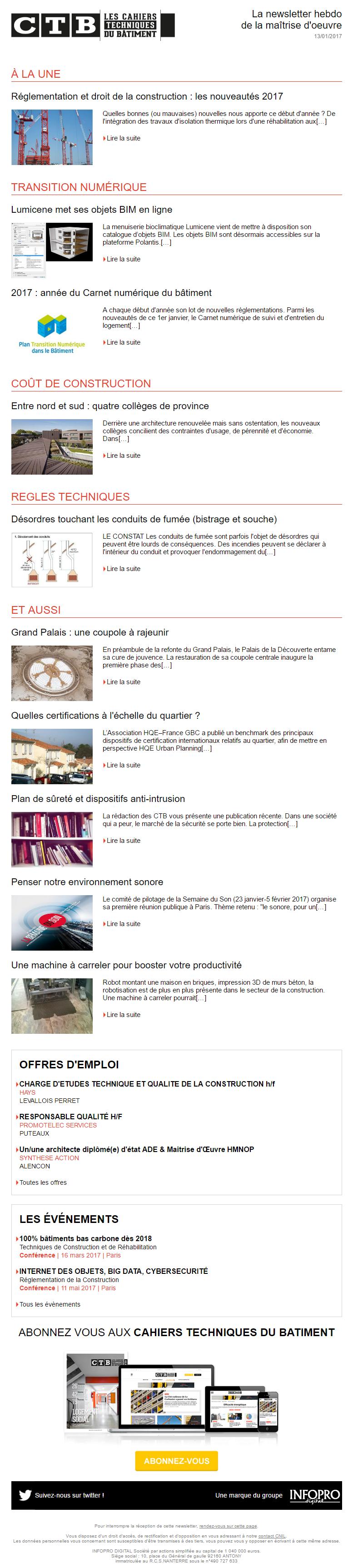 le magazine les cahiers techniques du b timent lance sa newsletter nouveaut s sites applis. Black Bedroom Furniture Sets. Home Design Ideas